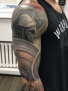 Tattoo Ideas for the Arm Awesome Upper Arm Spartan Warrior Tattoo - Tattoo MAG Warrior Tattoo Sleeve, Shoulder Armor Tattoo, Warrior Tattoos, Full Sleeve Tattoos, Tattoo Sleeve Designs, Tattoo Designs Men, Gladiator Tattoo, Gladiator Armor, Tattoo Arm Mann