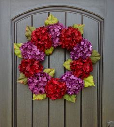 Hydrangea Wreath Spring Wreath Summer Wreath Grapevine Door Wreath Red Purple Hydrangea Floral Door Decoration Indoor Outdoor by AnExtraordinaryGift on Etsy