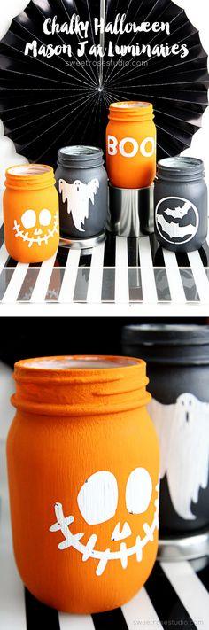 Chalky Halloween Mason Jar Luminaries Tutorial at Sweet Rose Studio