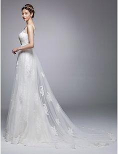 A-line Chapel Train Wedding Dress -Jewel,V-neck Tulle – USD $ 229.99