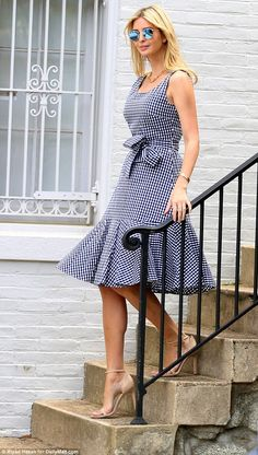 Ivanka seemed to be in good spirits as she carefully walked down the steps of her home in her sky-high stilettos