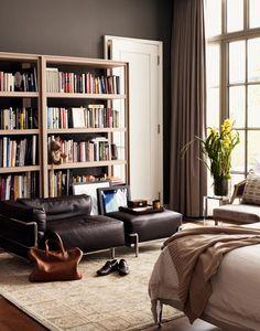 desire to inspire - desiretoinspire.net - Douglas Friedmanencore - chair, ottoman, bookcases, wall color