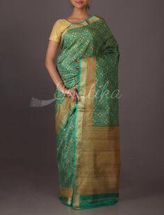 Anuradha Rangoli Pattern Printed #SilkSaree in Green