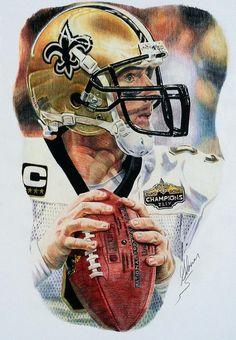 Drew Brees, New Orleans Saints by Matthew Glover Football Art, Football Players, Football Helmets, Nfl Photos, Football Pictures, Saints Players, New Orleans Saints Football, Sports Art, Sports Decor