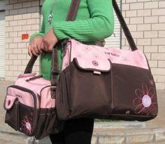 4Pcs Carter:s  Baby Changing Diaper Nappy Bag Mummy Shoulder Handbag Brown Pink