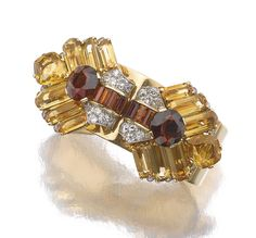 Citrine And Diamond Clips/Bangle Combination Mounted In Yellow Gold And Platinum, By Cartier   c.1930's   - 1stdibs.com