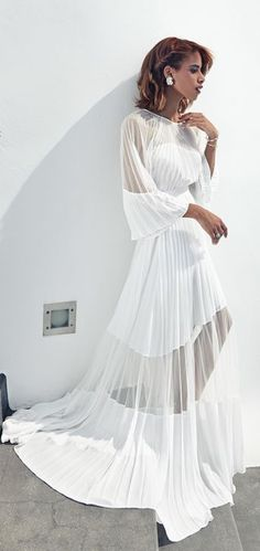 White Lined Floor Length Maxi Dress by The Fierce Diaries