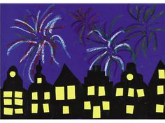 Vuurwerk boven de stad - Het is oudjaarsavond. Boven de silhouetten van de huizen wordt de lucht verlicht met de mooiste kleuren vuurwerk. Gelukkig nieuwjaar! Barn, School, Painting, Bricolage, Silhouettes, Converted Barn, Painting Art, Paintings, Painted Canvas