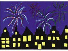 Vuurwerk boven de stad - Het is oudjaarsavond. Boven de silhouetten van de huizen wordt de lucht verlicht met de mooiste kleuren vuurwerk. Gelukkig nieuwjaar!