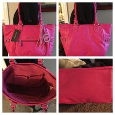 New Ellen Tracy Norah  Double  Handle Satchel Has tags, Right fuchsia pink exterior and trim hardware is Silvertone,  primary closure is a zipper,  interior offers two slip pockets on one side and a zippered wall pocket on the other. There is a slip pocket nestled into the upper front of the totes exterior to secure important items. Has decorative buckle detail on each side panel, handles are stylish double rolls and a polished Ellen Tracy name play adorns  the center front with a removable…