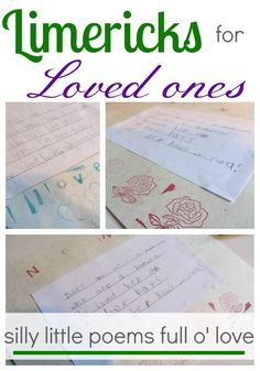 Teach kids how to write limericks for loved ones then decorate them! These silly little poems full o' love will brighten someone's day! #teachmama #limericks #poetry #lovepoems #kidspoetry #writing #creativewriting