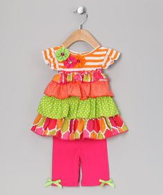 Take a look at this Orange Stripe Ruffle Tunic & Leggings - Infant, Toddler & Girls by Rare Editions on #zulily today!