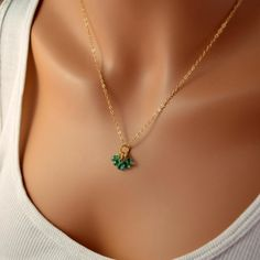 NEW Genuine Emerald Necklace Precious Gemstone by livjewellery, $274.00