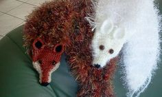 TK2's Red Fox and Arctic Fox Stole. Combination of 2 Fox Scarf crochet patterns. 1 from Rian Anderson and the other from Jenny Turco, both on Ravelry.