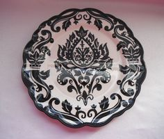 222 FIFTH DAMASK BOLD BLACK & WHITE SALAD PLATE - SCROLLS & TORCHES ACCENT  #222Fifth