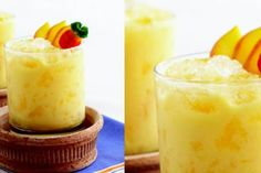Sandra Lee's Mango Beach Cocktail | The Dr. Oz Show   1/2 cup frozen mango, chopped 1/4 cup fat-free vanilla yogurt 1/4 cup mango nectar 1 1/2 oz tequila crushed ice peach slices, for garnish  In a blender, combine mango, yogurt, mango nectar and tequila.