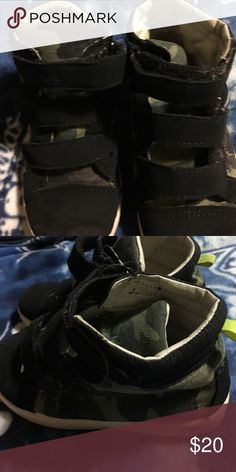 Boys Carters sneakers Black and camo high tops EUC size 10 Carters Shoes Sneakers