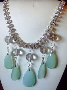 #collana in #cristallo con #pendenti in #pietra. Info@oro18.eu #oro18 #bigiotteria  #bijoux #jewelry Presto su www.oro18.eu