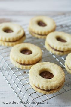 Gluten Free Nutella Linzer Cookies not sugared