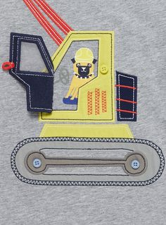 Make a playful addition to his daily line-up with this bulldozer patterned T-shirt. Designed with a mock door flap, this piece will become an instant favourite. Boys grey bulldozer t-shirt Bulldozer Mock door flap Crew neck Short sleeves Keep away from fire