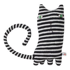 This is Mono Cat. Mono Cat loves mint humbugs and likes using Zebra Crossings. All Donna Wilson creatures are knitted in the UK using the softest Cat Toys, Doll Toys, Zebra Crossing, Cat Patch, Cat Crafts, Little Doll, Soft Sculpture, Softies, Cat Art