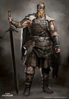 m Ranger Clan Chief Med Armor Helm Cloak 2 Handed Sword ArtStation - For Honor - Highlander character concept, Guillaume Menuel Fantasy Warrior, Fantasy Rpg, Medieval Fantasy, Woman Warrior, Fantasy Character Design, Character Design Inspiration, Character Concept, Character Art, Concept Art