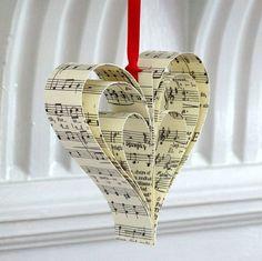 Remade Handmade Sheet Music Christmas Decorations