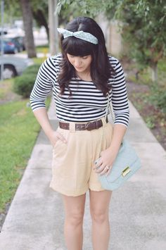 H&M Striped Top, Thrifted High Waisted Shorts, Forever 21 Satchel