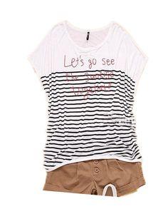 #SheInside Black LETS DO SEE SUNRISE TOGETHER Striped T Shirt