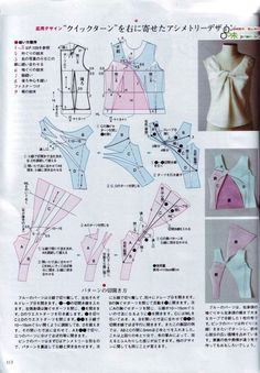 Sewing Blouse another twist top, sort of with instructions? In Japenese, yes, but the numbers might help next time? Diy Clothing, Clothing Patterns, Sewing Patterns, Sewing Hacks, Sewing Tutorials, Sewing Projects, Techniques Couture, Sewing Techniques, Collar Pattern