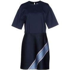 Victoria, Victoria Beckham Short Dress ($555) ❤ liked on Polyvore featuring dresses, dark blue, short sleeve mini dress, blue mini dress, jacquard dress, stretch mini dress and short blue dresses