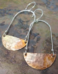 Copper and Sterling Silver Swing Earrings by ThePurpleLilyDesigns, $25.00