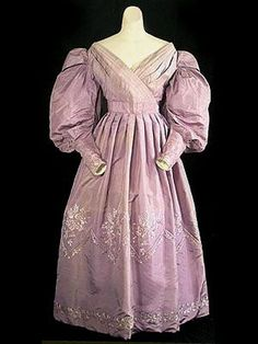 This is another example of a 1830 hand-embroidered silk taffeta dress with large gigot sleeves. Thin silk and taffeta was used a lot during the Romantic period. Elaborate embroider hand done.
