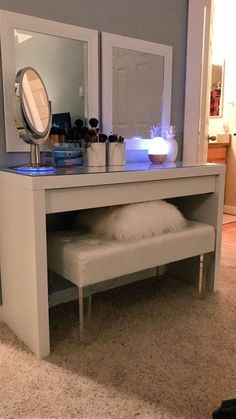 nail room ideas small / nail room ideas home . nail room ideas home small . nail room ideas home diy . nail room ideas home pink . Floating Shelf With Drawer, Floating Shelves, White Shelves, Decor Room, Home Decor, Glam Room, Room Goals, Dream Rooms, My New Room