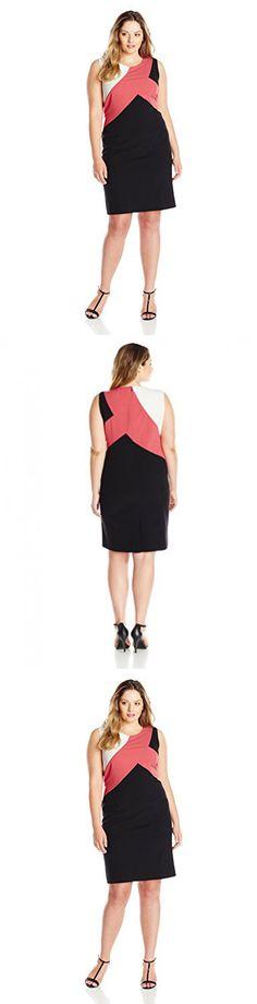 Nine West Women's Plus Size Color Block Sheath Dress, Lily/Volcano/Black, 16W