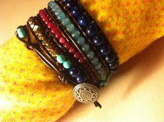 Semi-precious stones bracelet & leather by dodimatto on Etsy