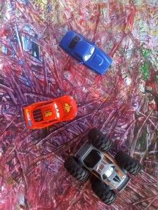 PAINTING WITH CARS - shared with the Kids Art Explorers project http://nurturestore.co.uk/category/creative-art/kids-art-explorers