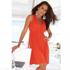 Orange Deep V-Neck Summer Dress