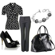 Black and Grey Trouser Pants Beautiful black and grey trouser pants. Cute zipper detailing on front pockets. Office Fashion, Work Fashion, Fashion Pants, Fashion Outfits, Womens Fashion, Fashion Trends, Fashion Ideas, Fashion Inspiration, Business Casual Outfits