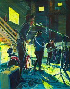 """Others arthurjohnstone: Sister Palaceplaying a house show in San Francisco. Acrylic on paper, 19x24"""""""