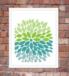 Flower Bursts Modern Home Wall Art Print - 8 x 10 and 11 x 14, Lime, Teal, Brown, Sky Blue // Bedroom, Living Room, Bathroom, Kitchen