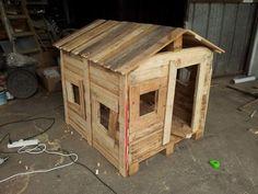 hut7 600x450 Tutorial to make a kids hut from pallets in kids diy  with Pallets Kids Hut