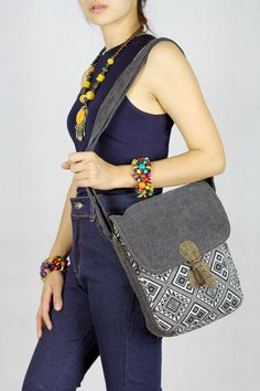 Navy blue Tribal Indie Shoulder Bag - messenger bag, Crossbody ...