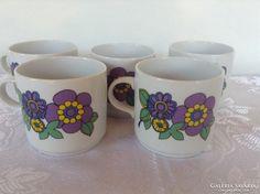 5 db Alföldi virágos bögre Retro Vintage, Cups, Glasses, Tableware, Eyewear, Mugs, Eyeglasses, Dinnerware, Tablewares