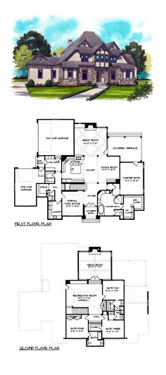 Tuscan House Plan 53773 | Total Living Area: 4334 sq. ft., 4 bedrooms and 3.5 bathrooms. #tuscanhome