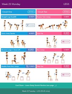 Week 23 Monday  Bikini Body Guide 2.0 by Kayla Itsines, weeks 13-24 (complete)