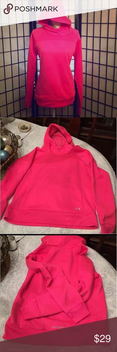 Under Armour Storm Hot Pink Hoodie Sweatshirt Like new just too bright for me. Size large. 2 pockets. Under Armour Storm series. These are $60-$70 new.   Happy to bundle :)  Lots of Victoria Secret, Pink, Nike, Under Armour, Lululemon, Patagonia, Miss Me, and other Buckle items to list. Follow me to check out the great deals. I'm always happy to bundle. Under Armour Tops Sweatshirts & Hoodies