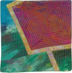 Portais º 43 © 2013 Lisa Call6 x 6 polegadas de de Pintura Têxtil (Tecido, tinta, Linha, rebatidas), Montada na lona esticada .