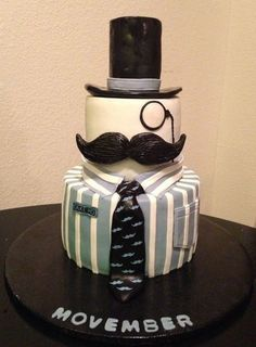 Moustache cake w shirt and tie Just Cakes, Cakes For Boys, Crazy Cakes, Fancy Cakes, Gorgeous Cakes, Amazing Cakes, Fondant Cakes, Cupcake Cakes, Mustache Cake