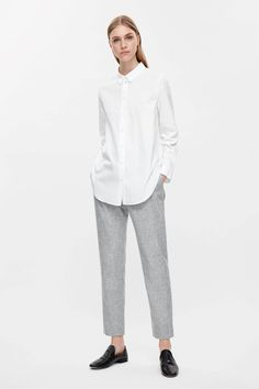 COS image 1 of Slim-fit cotton shirt in White